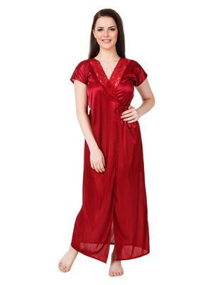 Austin-W  mr-2072 Maroon Women Night Wear Set Of 2