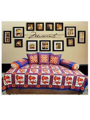 Mable ddiwanset01 Multicolored Deevan Set With 3 Cusion And 2 Comforter Covers