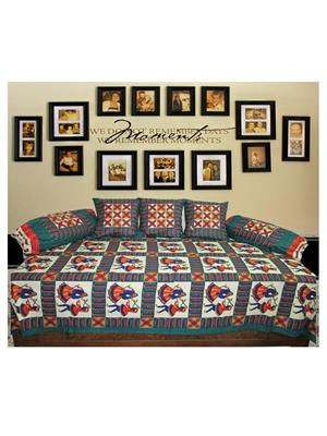 Mable ddiwanset03 Multicolored Deevan Set With 3 Cusion And 2 Comforter Covers