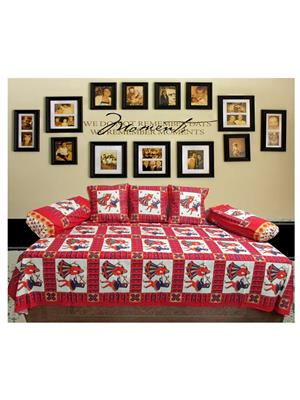 Mable ddiwanset04 Multicolored Deevan Set With 3 Cusion And 2 Comforter Covers