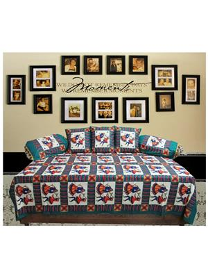 Mable ddiwanset10 Multicolored Deevan Set With 3 Cusion And 2 Comforter Covers