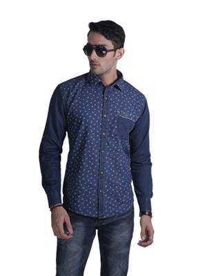 Restyle Des-4689 Blue Men Casual Shirt