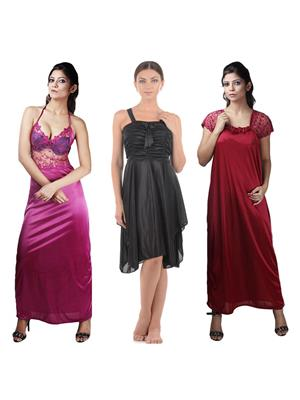 Boosah 120-2 Multicolored Women Nightwear Set Of 3