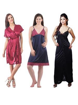 Boosah 120-3 Multicolored Women Nightwear Set Of 3