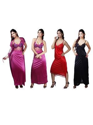 Boosah 120-C5-1 Multicolored Women Nightwear Set Of 4