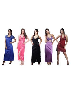 Boosah 120-C5-3 Multicolored Women Nightwear Set Of 5
