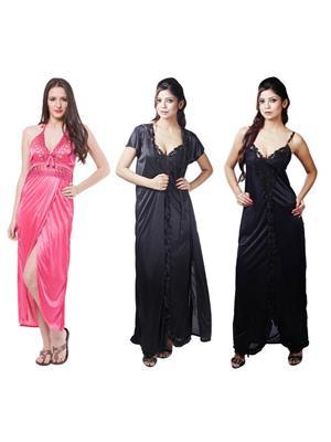 Boosah 120-C5-5 Multicolored Women Nightwear Set Of 3
