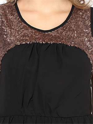 Rose Vanessa RS 041 Copper Embellished Black Dress