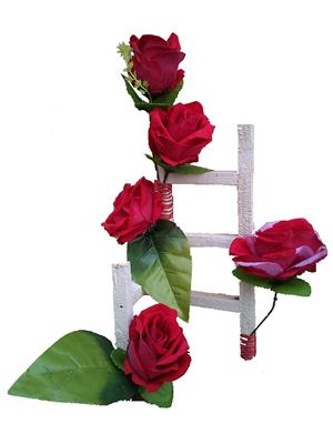 Floral Expressions Red Velvet Roses Artificial Flowers With Vase