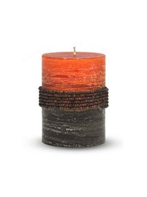 Pride & Joy Rustic Orange- Brown Beads  Candle