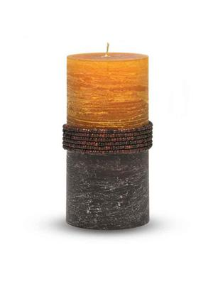 Pride & Joy Rustic Yellow- Brown Beads Candle