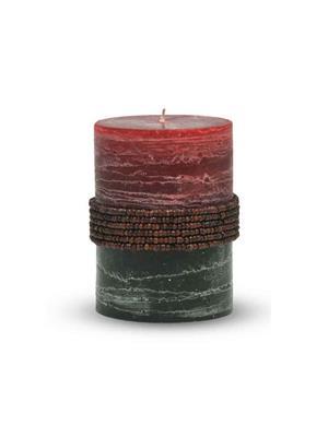 Pride & Joy Rustic Maroon- Dark Green Beads Candle