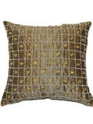 QUILT INDIA  go9  Golden  Printed  Cushion Cover