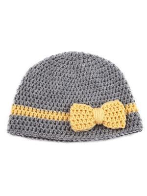 Love Crochet Art Grey-Yellow Hat