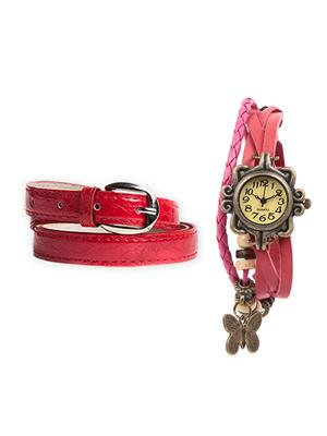 Mango People Hob-Cas-104 Multicolored Women Vintage Watch With Belt