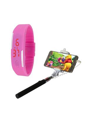 Mango People Hob-Cas-312 Multicolored Led Watch With Selfie Stick