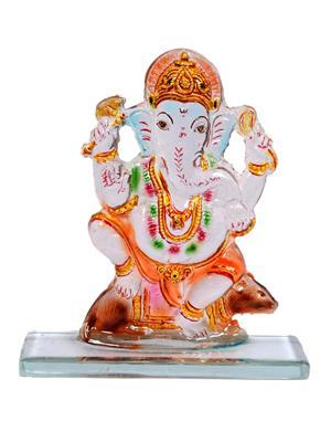 Kanch mall kanch _3  Multicolour Powerful Ganesha Idol