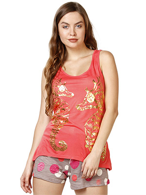 Rose Vanessa RS 035 Coral Horse Circle Shorts Set