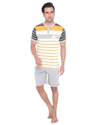 Valentine MN-1061-SHS Men Yellow color Front Button Top & Shorts Set