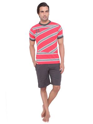 Valentine MN-1117-B-SHS-BM Men Red color Round Neck Top & Shorts Set