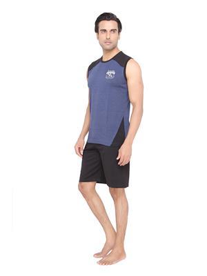 Valentine MN-1595-SHS-BM Men Blue color V-Neck Top & Shorts Set