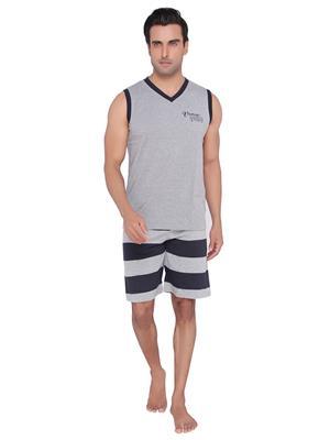 Valentine MN-1599-SHS-BM Men Grey color V-Neck Top & Shorts Set