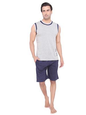 Valentine MN-1608-SHS-BM Men Grey color Round Neck Top & Shorts Set