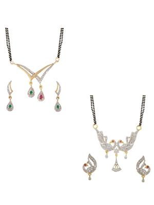 Penny Jewels Ms01Com Golden Women Mangalsutra With Earrings Combo Pack
