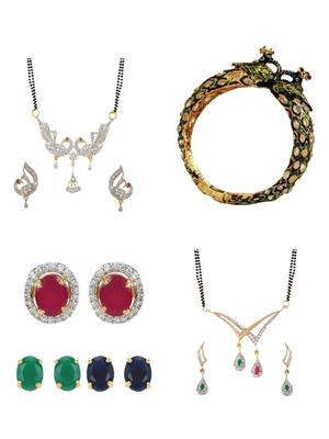 Penny Jewels Ms06Com Golden Women Mangalsutra,Earrings With Kada Combo Pack