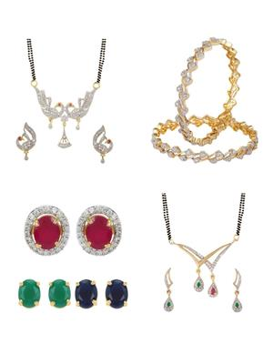 Penny Jewels Ms07Com Golden Women Mangalsutra,Earrings With Bangles Combo Pack