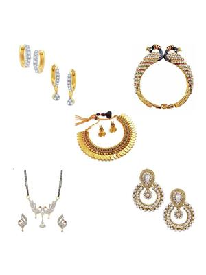 Penny Jewels Ms09Com Golden Women Necklace,Earrings,Mangalsutra With Kada Combo Pack