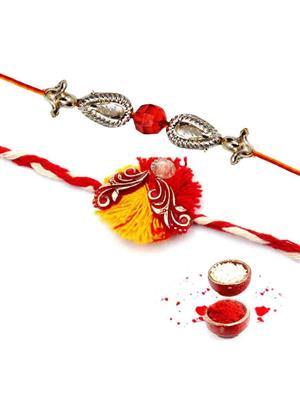 New Fancy Rakh n12 Red men rakhi set of 2