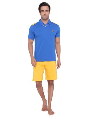 Valentine NL-MN-343-SHS-BM Men Blue color Polo Top & Shorts Set