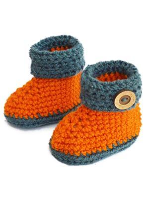 Love Crochet Art Obb Orange Booties