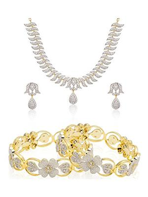 Penny Jewels pj-fholneck26 Gold Women Jewellery Set With Bangles
