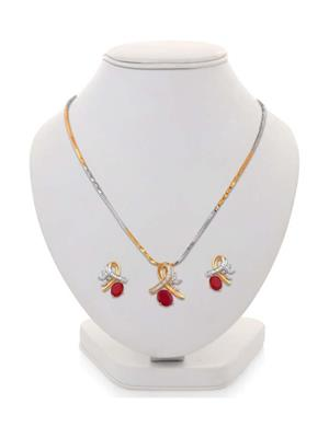 Penny Jewels Red Alloy Pendant With Chain