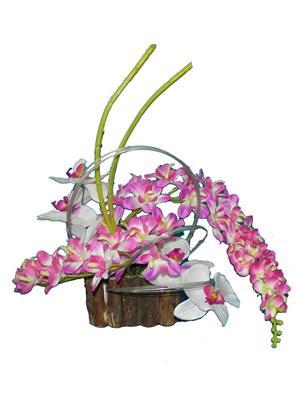 Shivam Shiv184Multicolor Orchids Artificial Flower  With Pot