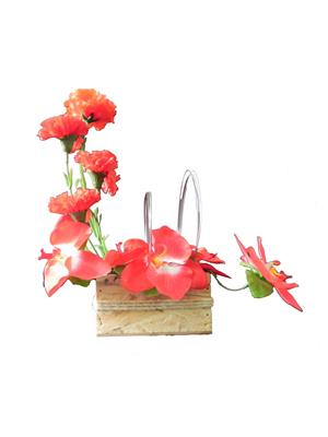Shivam Shiv197Multicolor Carnations Artificial Flower  With Pot