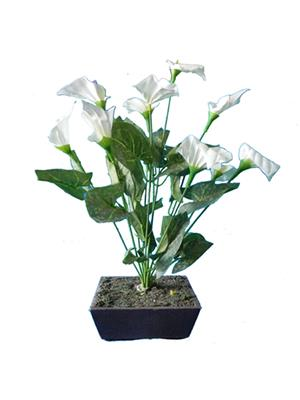 Shivam Shiv213Multicolor Lily Artificial Flower  With Pot