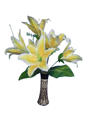 Shivam Shiv250Multicolor Lily Artificial Flower  With Pot