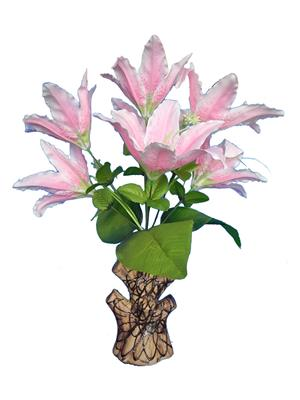 Shivam Shiv251Multicolor Lily Artificial Flower  With Pot