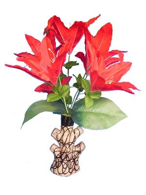 Shivam Shiv253Multicolor Lily Artificial Flower  With Pot
