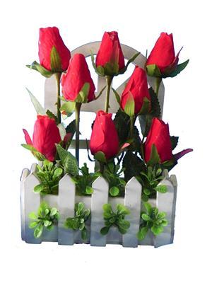 Shivam Shiv265Multicolor Rose Artificial Flower  With Pot