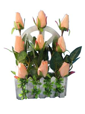 Shivam Shiv267Multicolor Rose Artificial Flower  With Pot