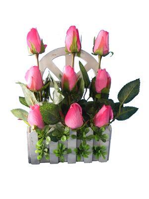 Shivam Shiv268Multicolor Rose Artificial Flower  With Pot
