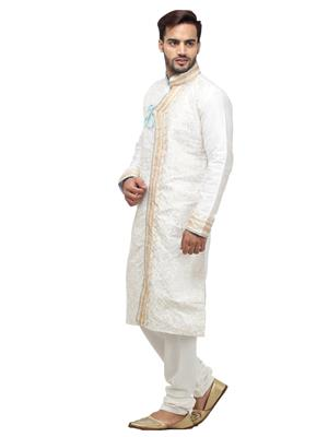 Swarnam 5858 White  Mens Ethnic Wear