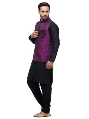 Swarnam 2012 Black & Purple  Mens Ethnic Wear