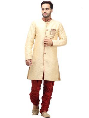 Swarnam 3037 Cream  Mens Ethnic Wear