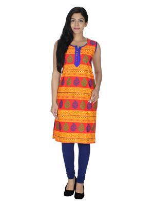 Track Deal Tdkrt520 Blue-Orange Women Kurti