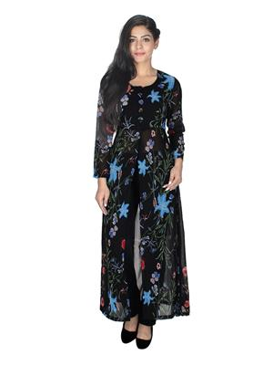 Track Deal Tdkrt560 Light Blueblack Women Kurti